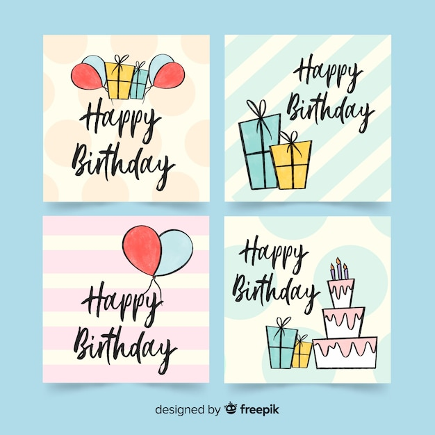 Cute hand drawn birthday card collection Free Vector