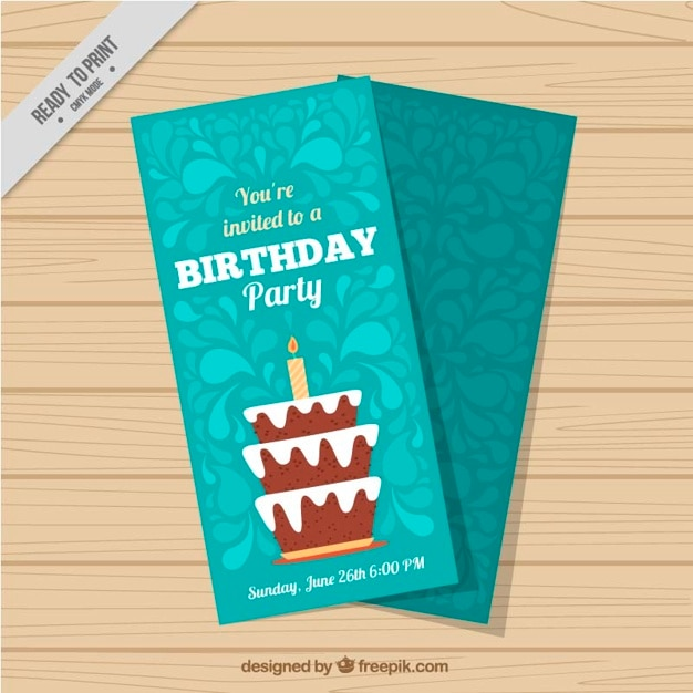 Cute hand drawn birthday card with a\ cake