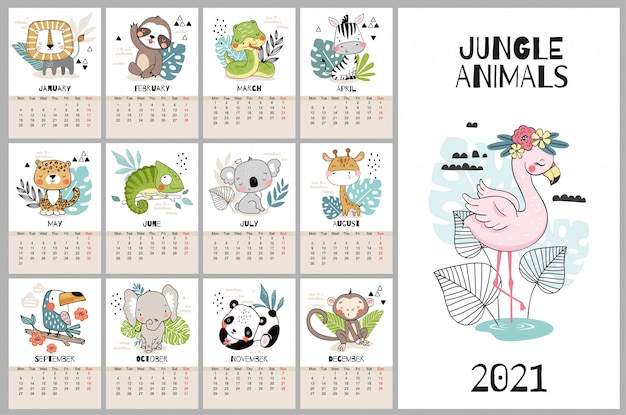 Cute hand drawn calendar for 2021 with jungle animal characters. Premium Vector