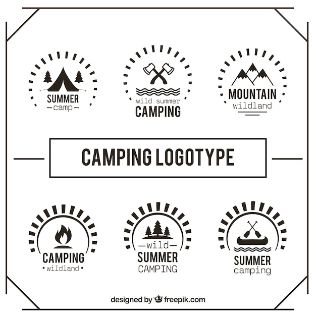 Cute hand drawn camping logotype set