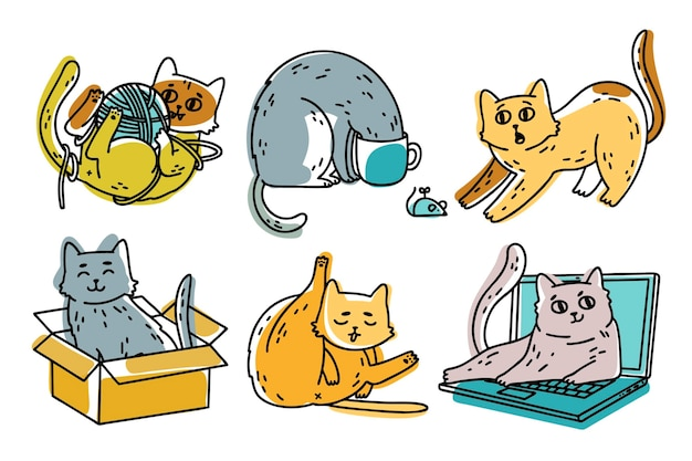 Cute hand drawn cat collection Free Vector