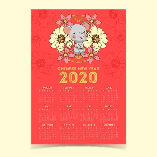 Cute hand drawn chinese new year calendar Free Vector