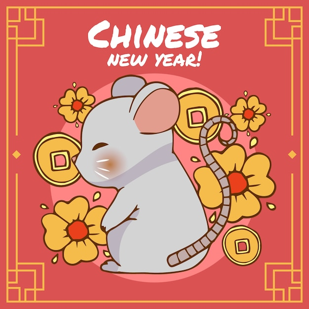 Cute hand drawn chinese new year Free Vector