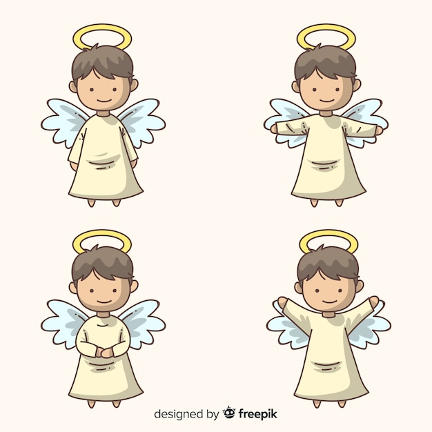 Cute hand drawn christmas angels character collection Premium Vector