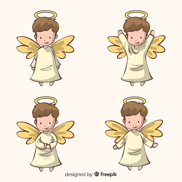 Cute hand drawn christmas angels character collection Free Vector