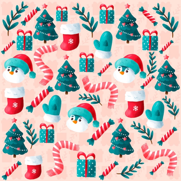 Cute hand drawn christmas background Free Vector