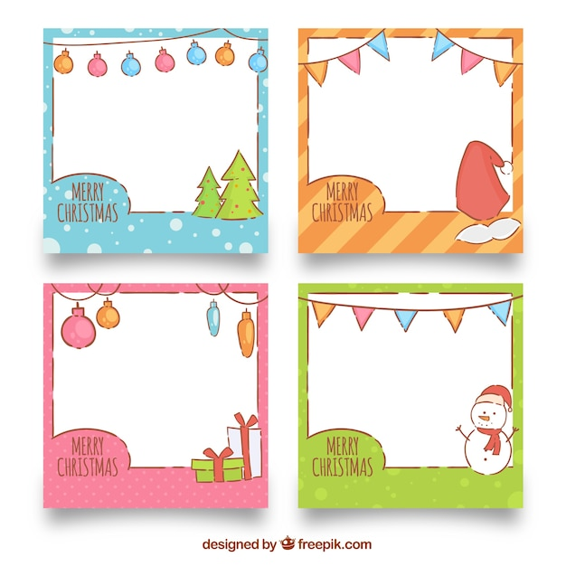 Cute hand drawn christmas frame collection Vector | Free Download