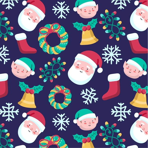 Cute hand-drawn christmas pattern with santa claus Free Vector