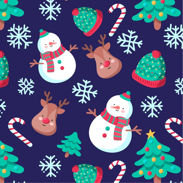 Cute hand-drawn Christmas pattern with snowman and reindeer Free Vector