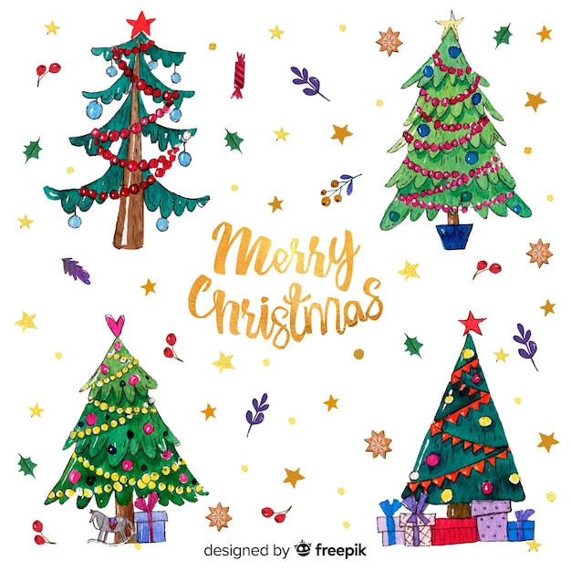 cute hand drawn christmas tree background 23 2147990166