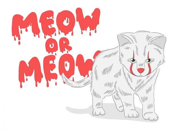 Милый рисованный кот клоун с кровавым фоном Premium векторы