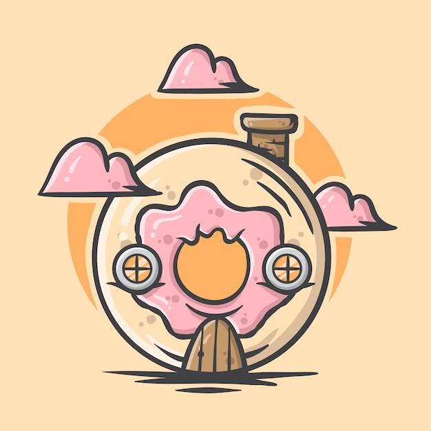 かわいい手描きのドーナツの家のイラスト Premiumベクター