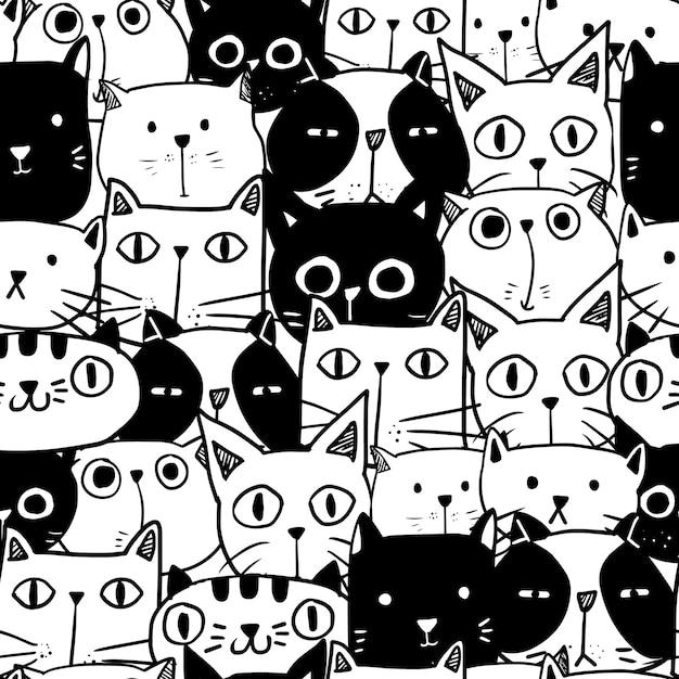 cute hand drawn doodle cat seamless pattern Premium Vector