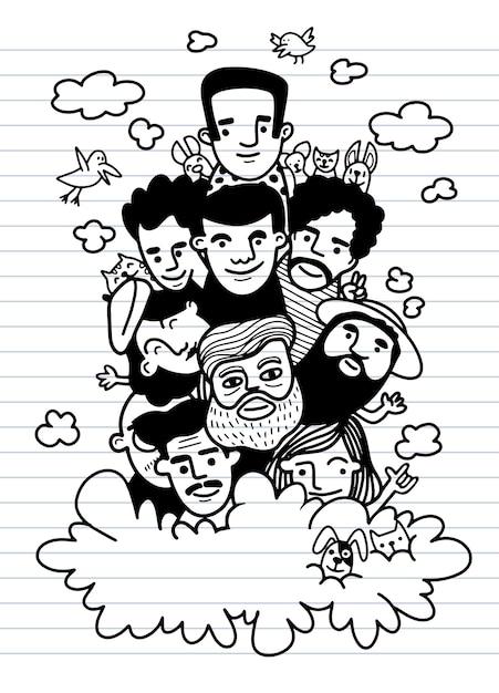 かわいい手描き落書き、顔の人々は面白い人々のイラストの群衆をスケッチします Premiumベクター