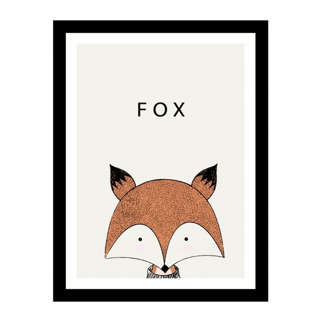 Cute hand drawn fox design Free Vector