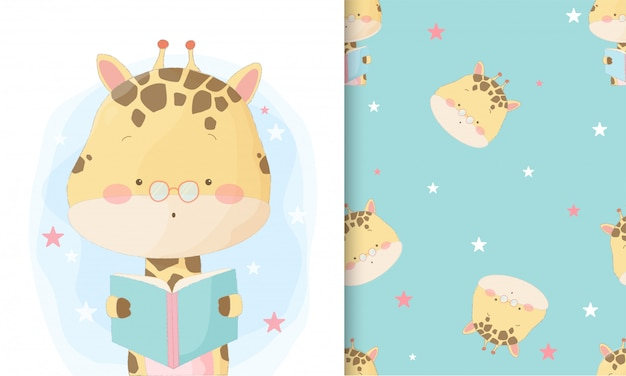 Cute hand drawn giraffe reading book with seamless pattern set Premium Vector