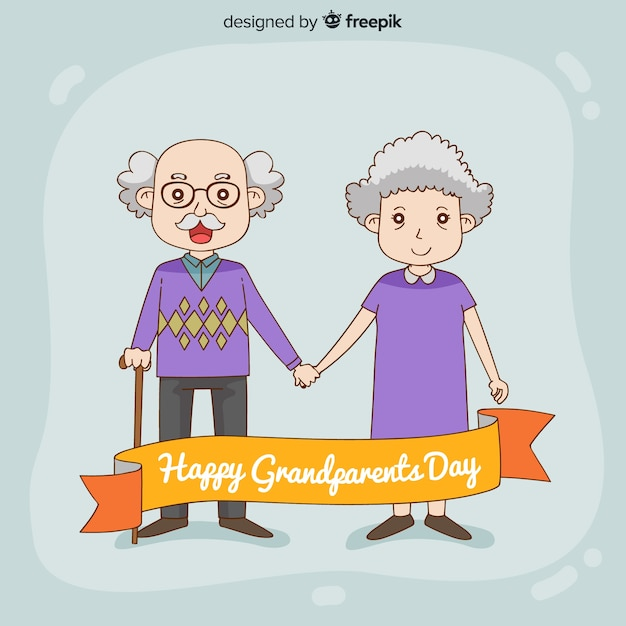 Cute hand drawn grandparents day background Free Vector