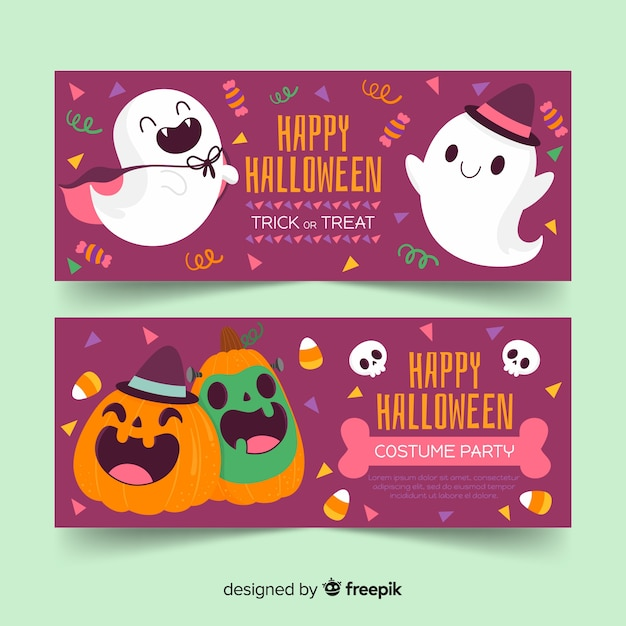 Cute hand drawn halloween banners with ghost and pumpkin Free Vector