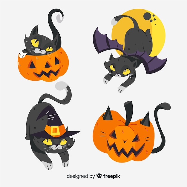Cute hand drawn halloween black cat Free Vector