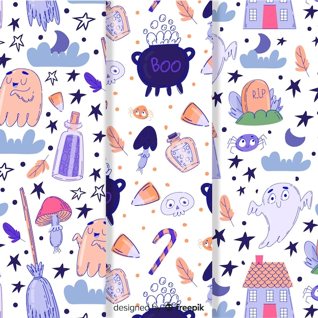 Cute hand drawn halloween pattern collection Free Vector