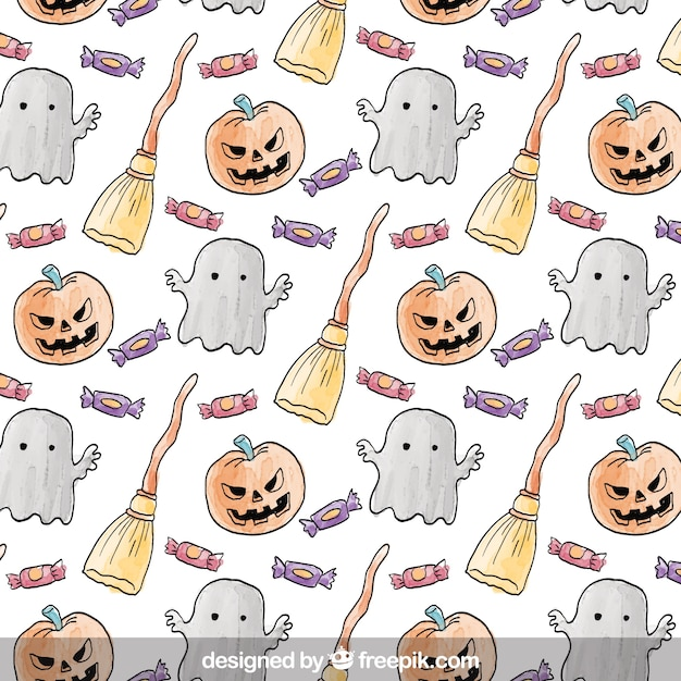 Cute hand drawn halloween pattern Vector | Free Download