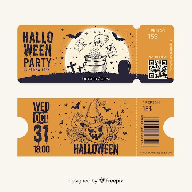 Cute hand drawn halloween tickets Free Vector