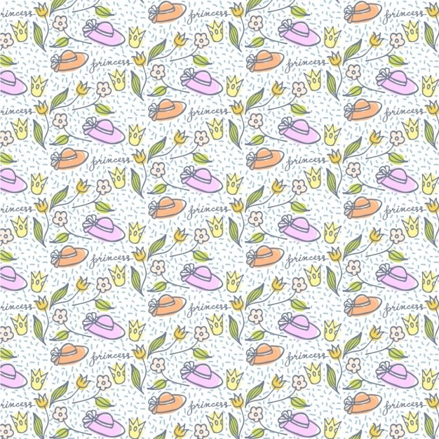 Cute hand drawn hats and flowers pattern Free Vector
