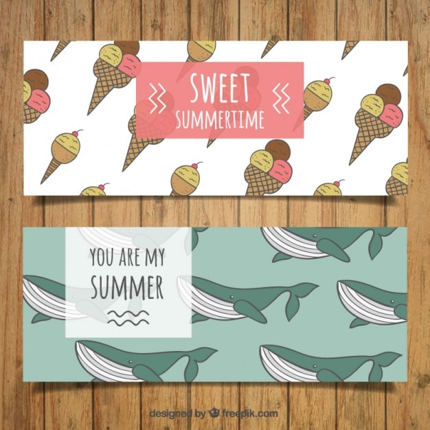 Cute hand drawn ice-creams and whales banners Free Vector