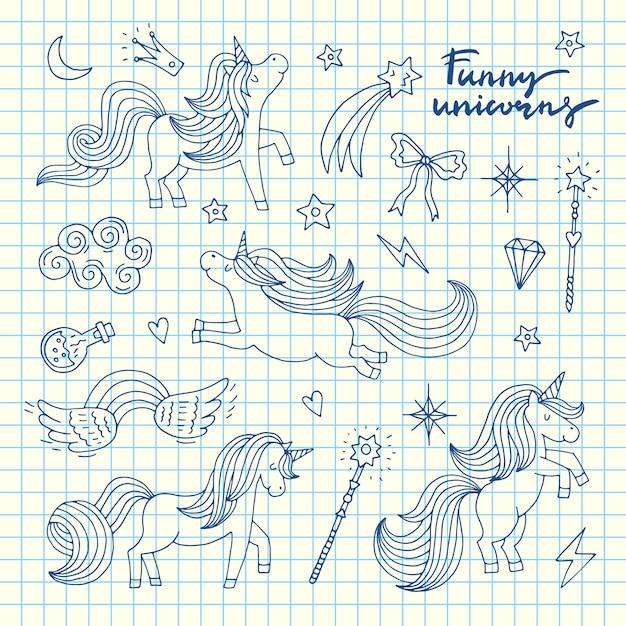 Cute hand drawn magic unicorns and stars set on blue cell sheet illustration Premium Vector