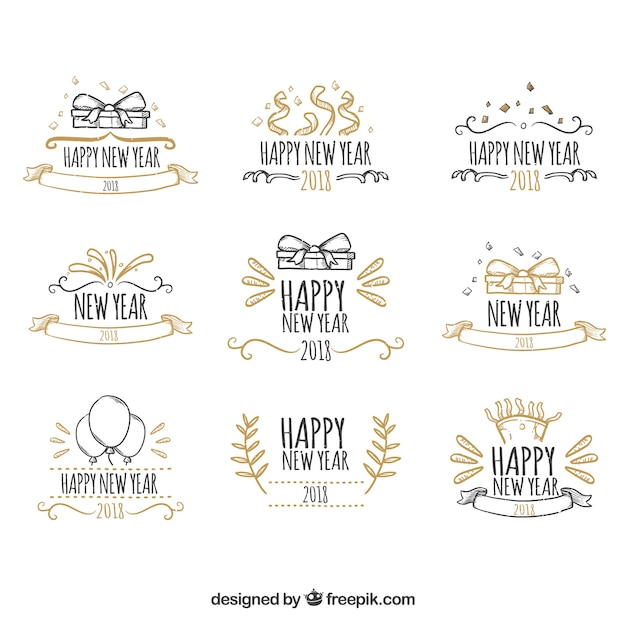 cute hand drawn new year badges free vector