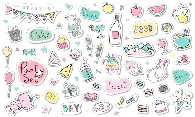 Cute hand drawn party sticker collection in pastel color Premium Vector