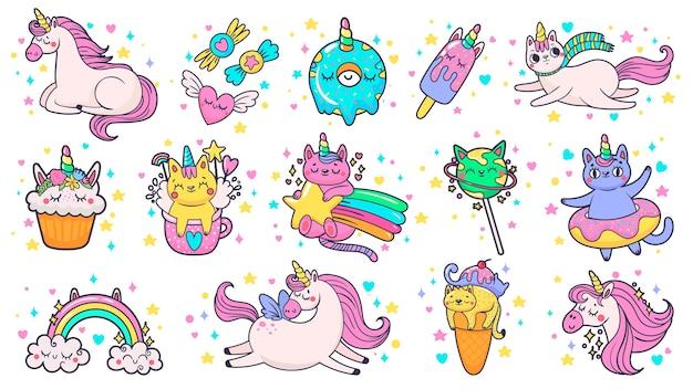 Симпатичные рисованной патчи. волшебный сказочный пони-единорог, сказочный кот и сладкие конфеты Premium векторы
