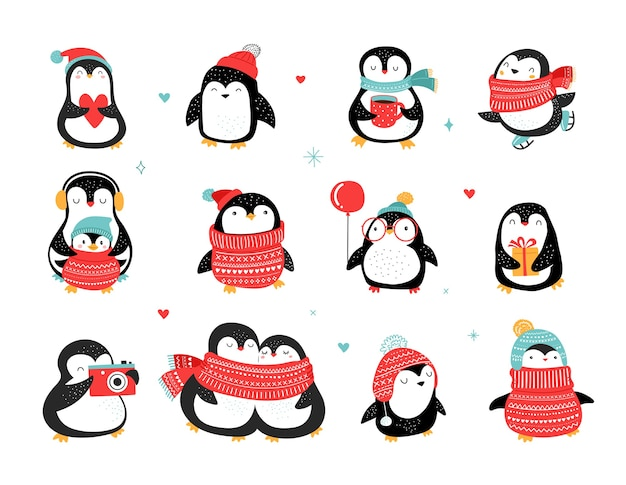 Cute hand drawn penguins collection, merry christmas greetings. Premium Vector
