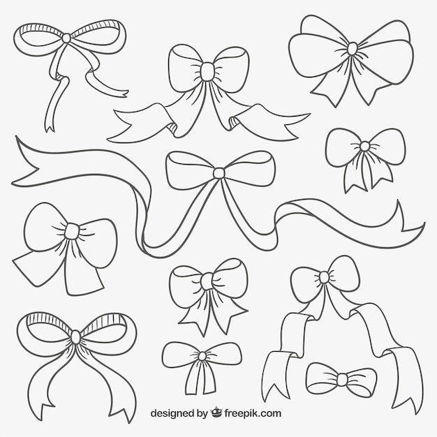 Cute hand drawn ribbons Vector | Free Download