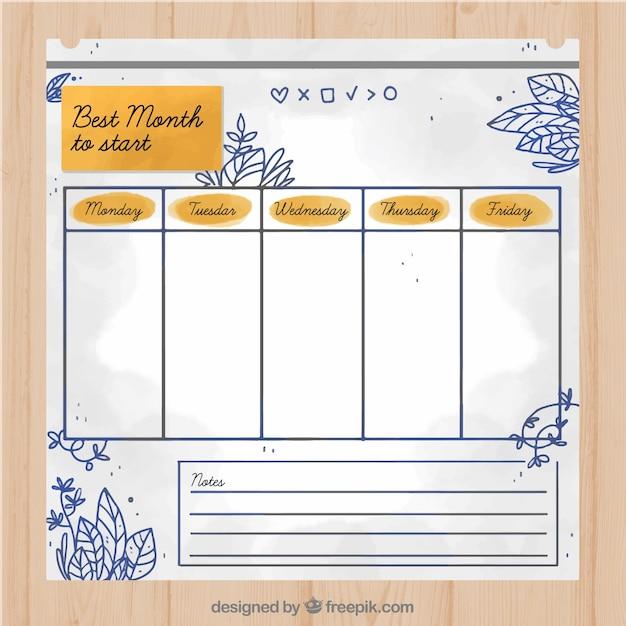 Cute hand drawn school timetable template
