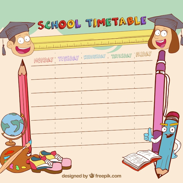 Cute hand drawn school timetable