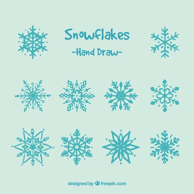 Cute hand drawn snowflakes vector premium download