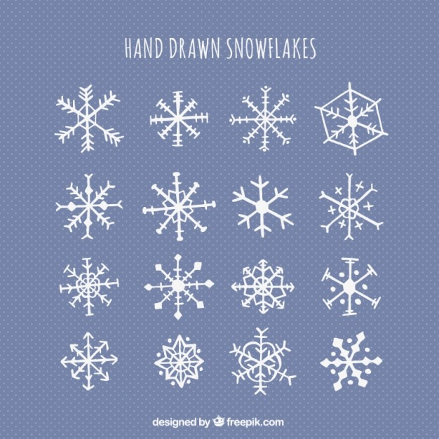 Cute hand drawn snowflakes vector free download
