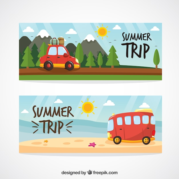 Cute hand drawn summer trip landscape\ banners