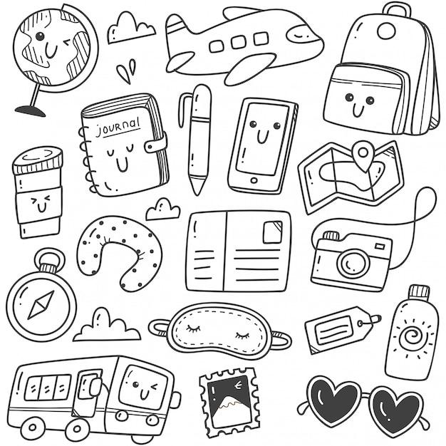 Cute hand drawn travel doodles kawaii line art Premium Vector