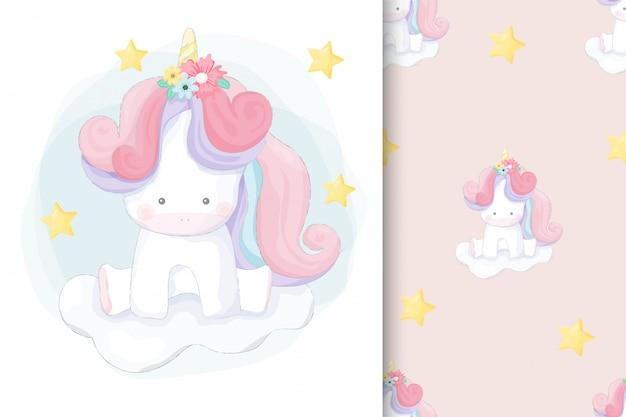Cute hand drawn unicorn with seamless pattern Premium Vector