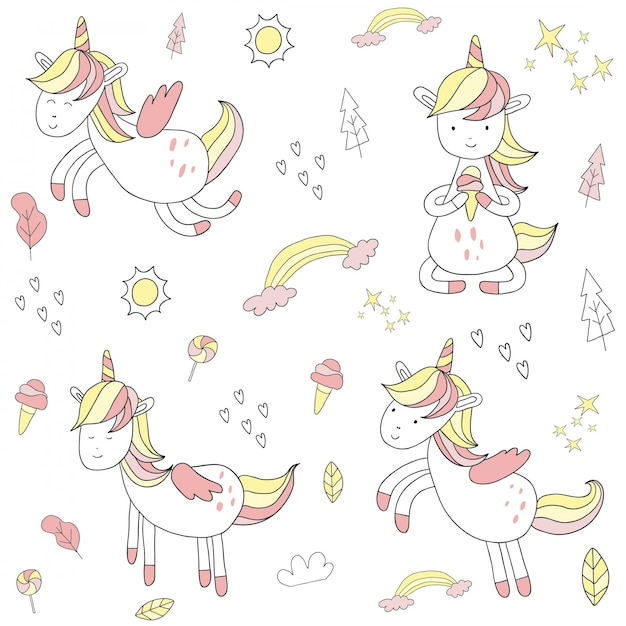 Cute hand drawn unicorn Premium Vector