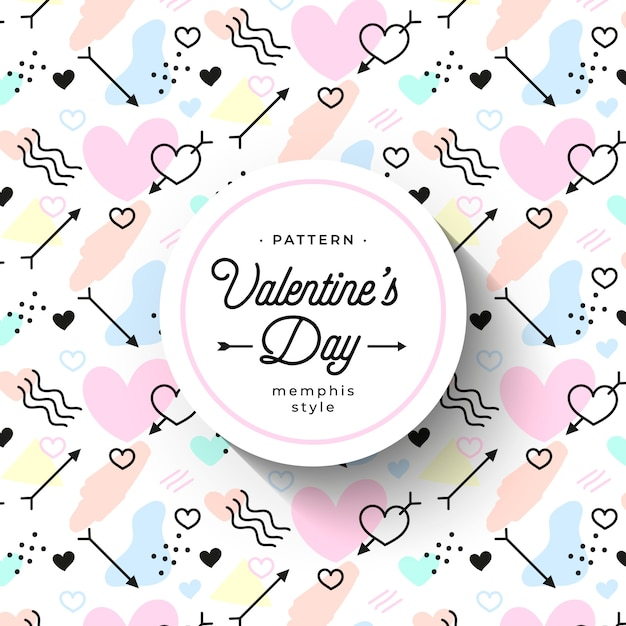 Cute hand-drawn valentine's day pattern in memphis style Free Vector