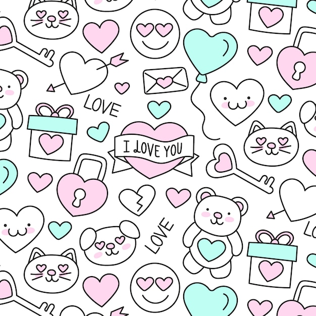 Cute hand-drawn valentine's day pattern Free Vector
