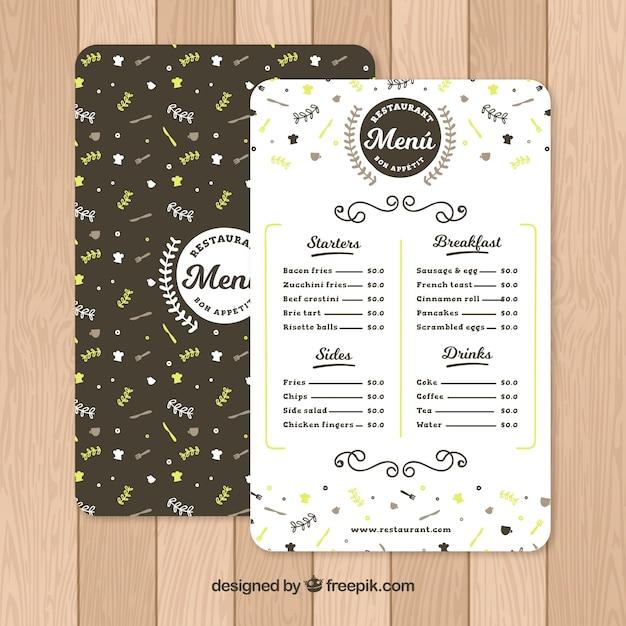 Cute hand drawn vintage floral menu