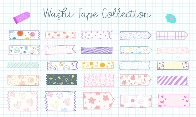 Cute hand drawn washi tape collection in pastel color Free Vector