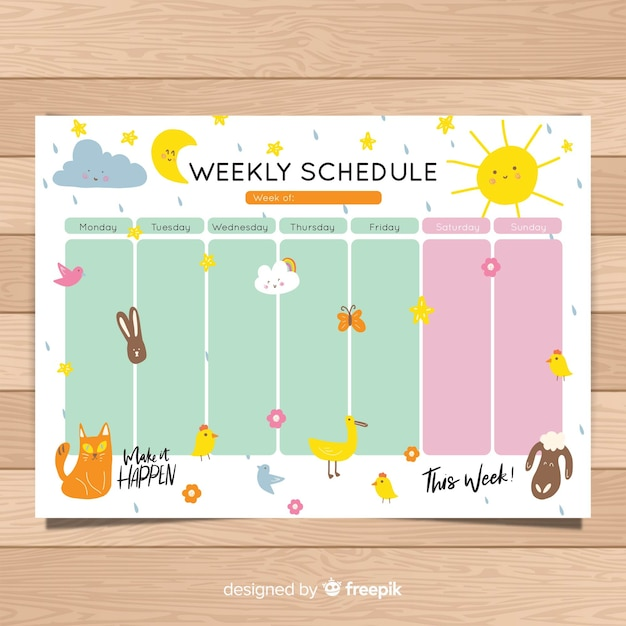 cute hand drawn weekly schedule template vector