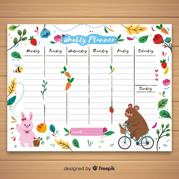 Cute hand drawn weekly schedule template Free Vector