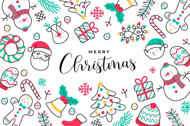Cute handdrawn christmas background Free Vector