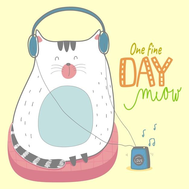 Cute handdrawn cute cat kitty, meow, pillow, walkman, music Premium Vector